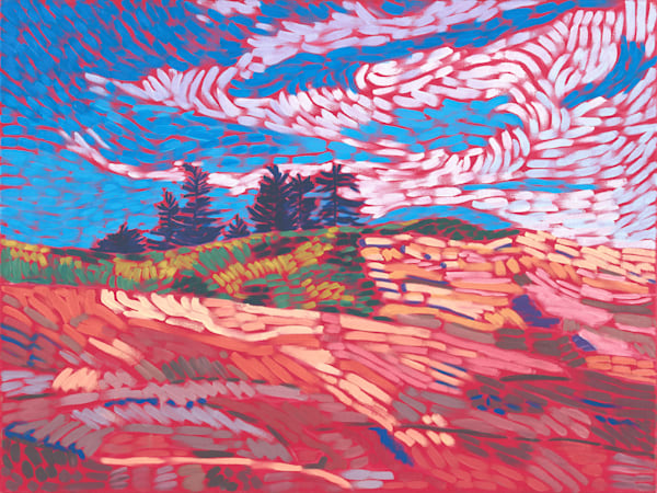 landscapes, art, paintings, prints, Maine, red, rocks
