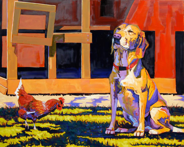 Shop for fine art prints like Yellow Dog, Red Chicken, from original painting by Matt McLeod at Matt McLeod Fine Art Gallery.