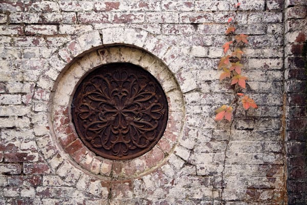 Whitewashed brick with circular metal design and autumn leaves