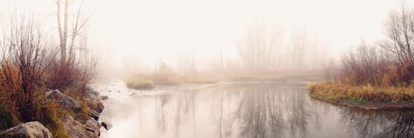 Foggy autumn day along the Gallatin River in Bozeman, Montana