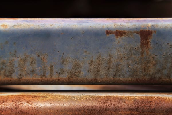 Close up of rusted blue metal