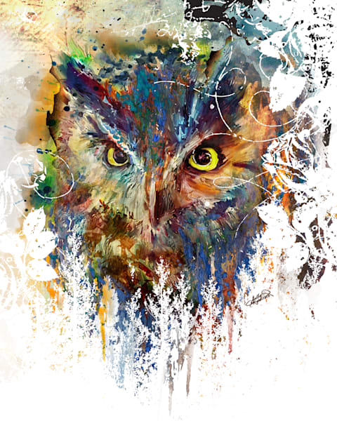 Mixed Media Owl Landscape painting art print by Sally Barlow