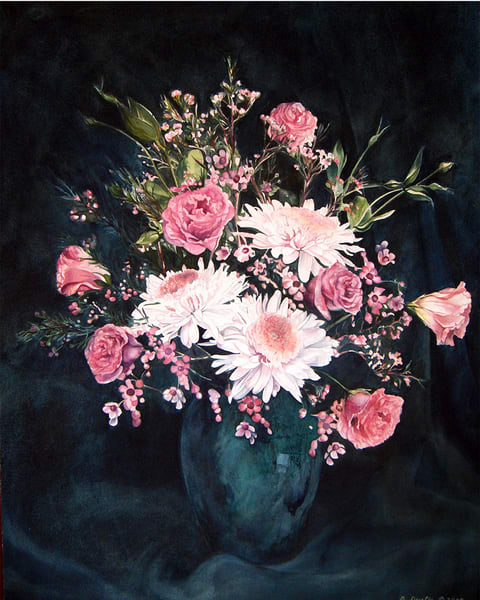 Pink Flowers in  Turquoise vase
