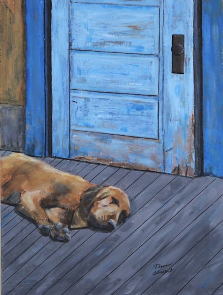 Redbone Coonhound, Dog Lying on Porch, Fine Art Paintings & Prints for sale by Teena Stewart of Serendipitini Studio