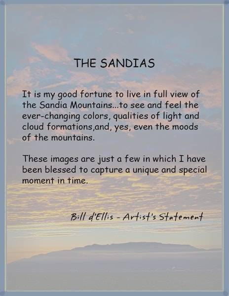 Sandia Skyscapes portfolio, d'Ellis Photographic Art photographs, Bill