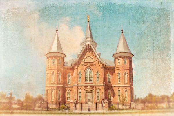 Provo City Center Temple Blue Antique Art | Mandy Jane Williams Art