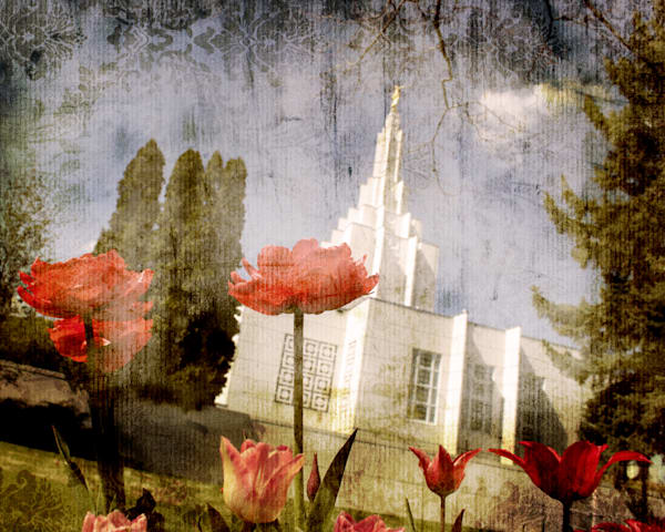 Idaho Falls Temple Spring Flowers Art | Mandy Jane Williams Art