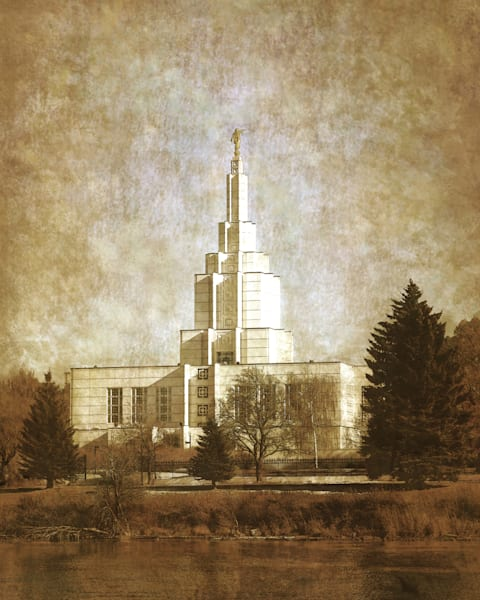 Idaho Falls Temple Warm Texture Art | Mandy Jane Williams Art