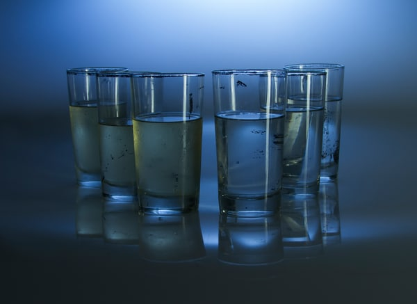 A Romantic Fine Art Photograph of Drinking Glasses With Reflections by Michael Pucciarelli