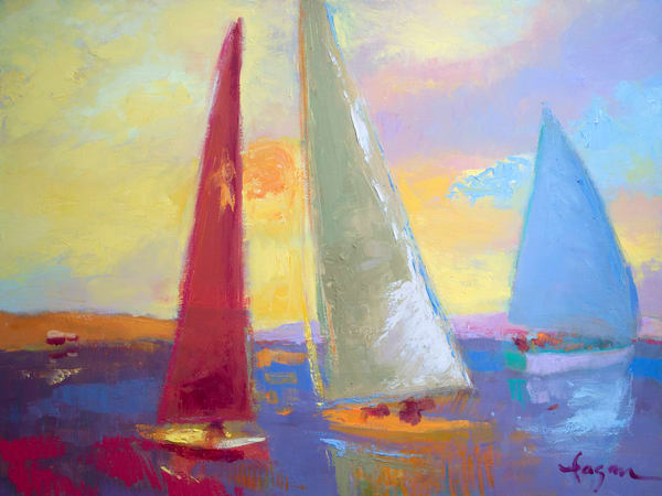 Colorful Abstract Sailboats Painting, Art Print by Dorothy Fagan