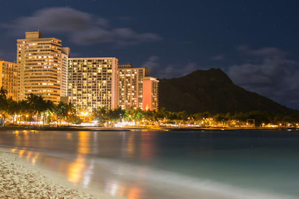 Stunning Waikiki Beach Night photo