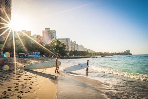Waikiki Beach Morning Surfers Photography Art | Barb Gonzalez Photography