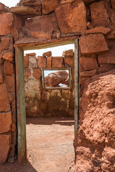 Looking Through Adobe Ruins Doorway Photo available in canvas, metal and archival print