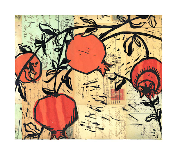 pomegranate original woodcut print for sale by Ouida Touchon, artist from New Mexico