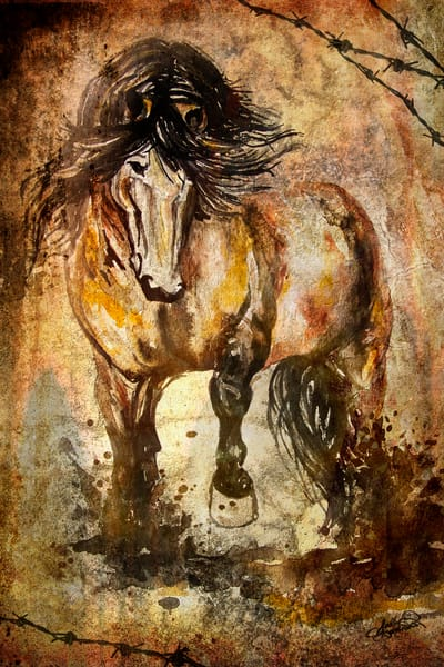Gold Rush mixed media watercolor horse painting by Sally Barlow