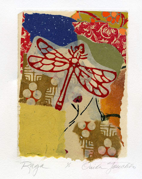 Raga, chine colle fine art collage, with dragonfly, for sale by New Mexican printmaker and fine artist Ouida Touchon