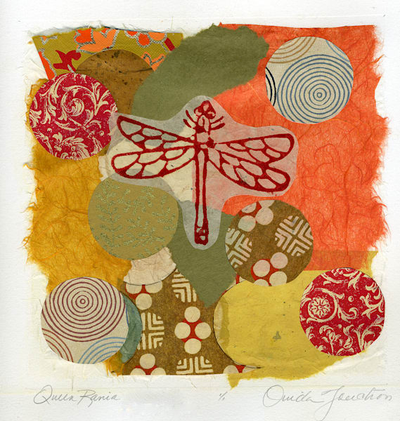 Queen Rania, chine colle fine art  collage , handprinted dragonfly, vintage paper fragments, art for sale by fine artist Ouida Touchon