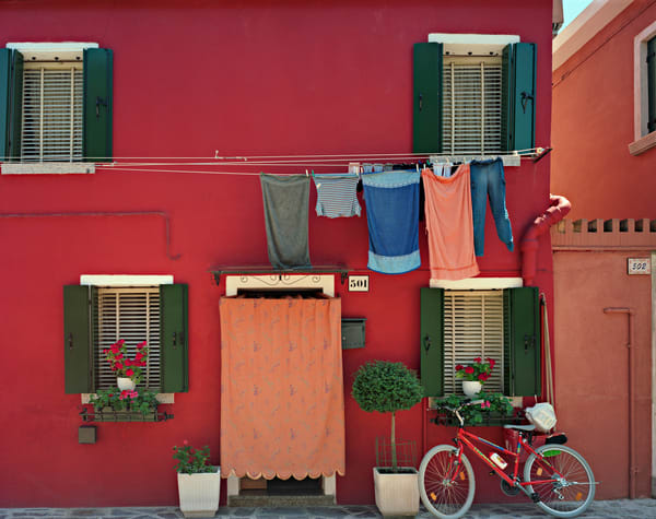 Red Wall With Bicycle Photography Art | frednewmanphotography