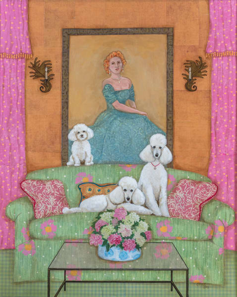 Buy a whimsical print of white poodles on a glamorous green and pink couch.