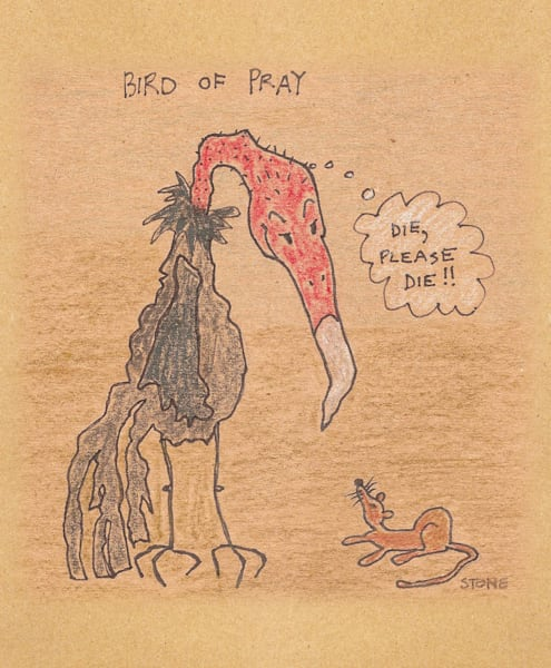 Buy a Bird of Pray funny cartoon for a  whimsical wall.