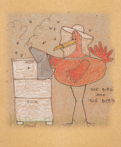 Buy a Bird and the Bees funny cartoon for a  whimsical wall.