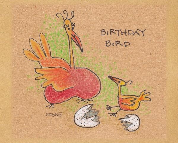 Buy a fun Birthday Bird cartoon for a  whimsical wall.