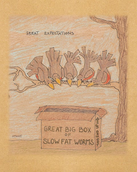 Buy a funny Great Expectations bird cartoon for a whimsical wall.