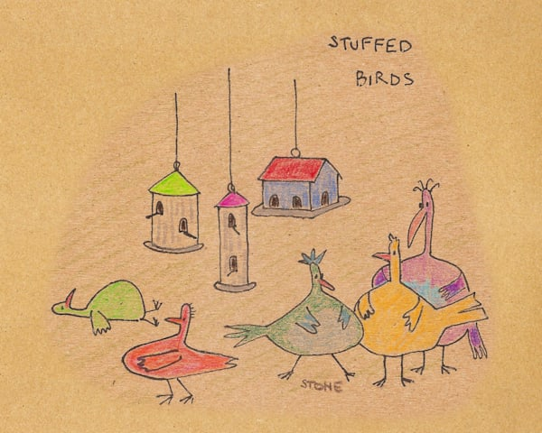 Buy a funny cartoon of Stuffed Birds for a  whimsical wall.