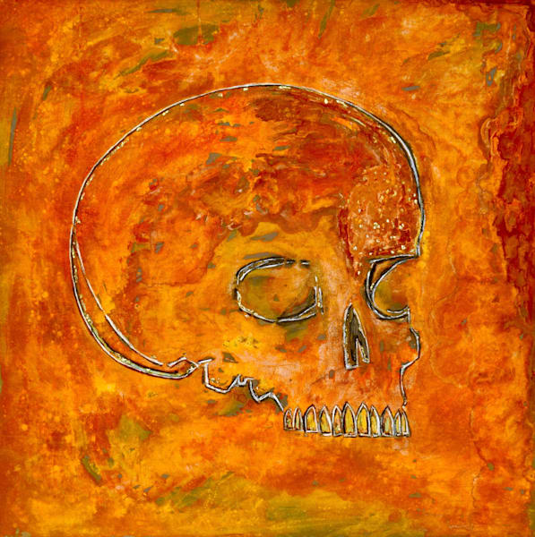 Memento Mori Original Oxidation Painting by Wet Paint NYC Artist Paul Zepeda