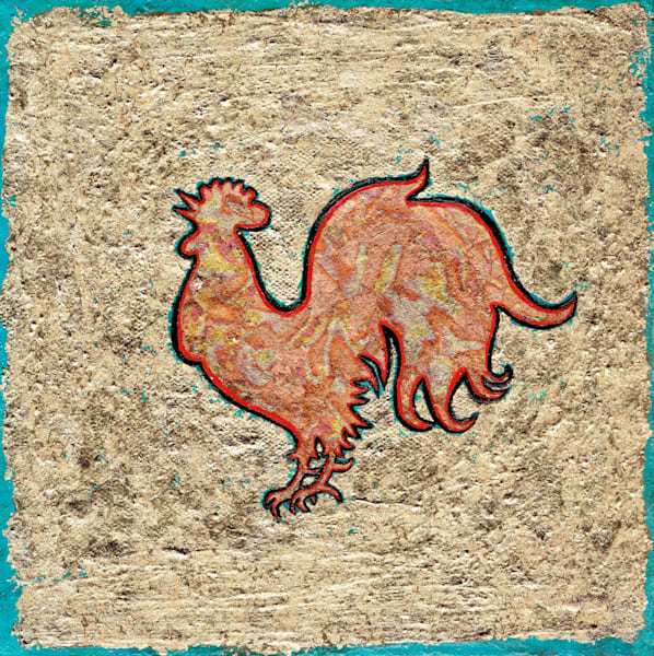 Year of the Rooster Original Painting by Wet Paint NYC Artist Paul Zepeda