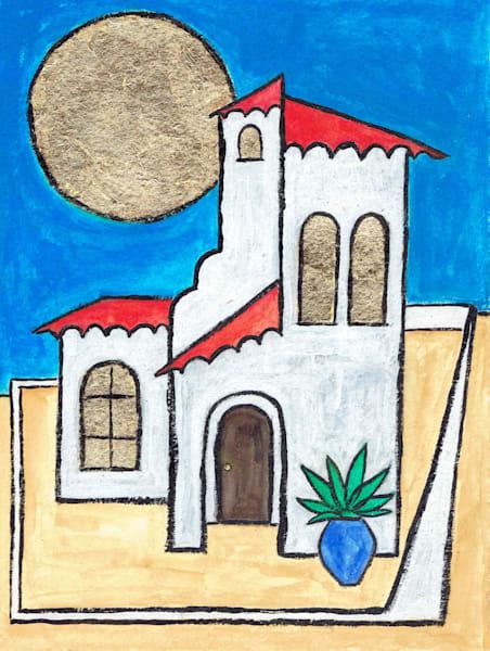 Villa Original Watercolor Painting by Wet Paint NYC Artist Paul Zepeda
