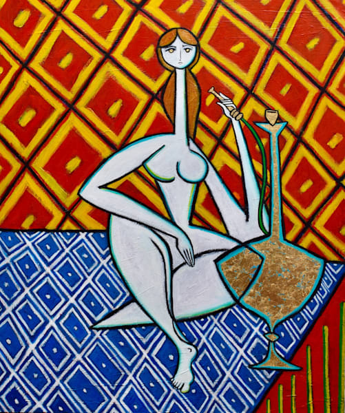 Odalisque with Golden Hookah Original Oil Painting with Gold Leaf by NYC Artist Paul Zepeda