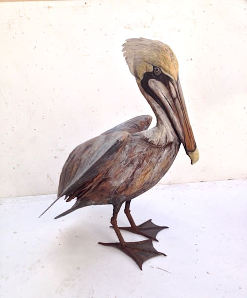 Louisiana brown pelican sculpture