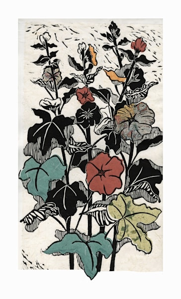 Hollyhock 4, original woodcut handprint for sale| Ouida Touchon