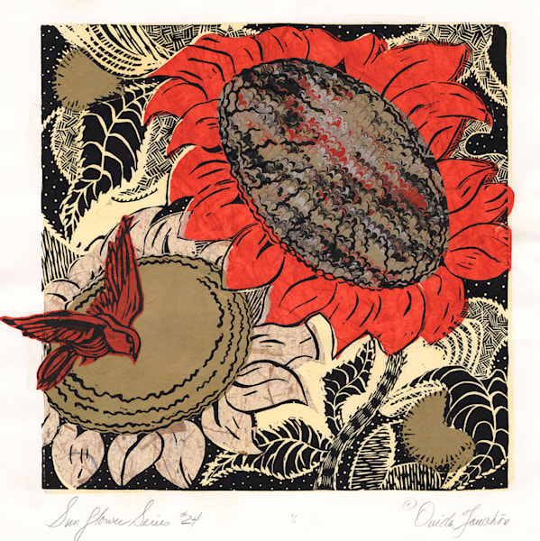 Original artwork, Sunflower series 24, woodcut print with chine colle collage on the surface, woodcut printed songbird, fine art for sale by Ouida Touchon, artist.