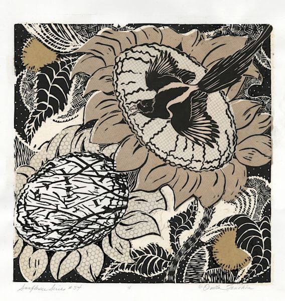 original woodcut print, sunflower series 54, black and white composition with magpie, for sale by fine artist Ouida Touchon.
