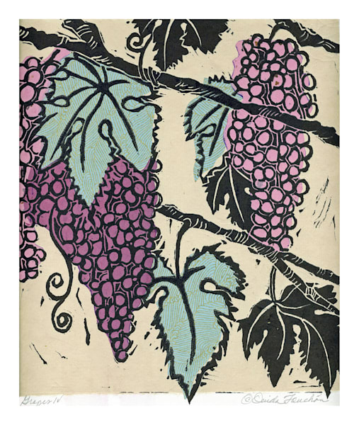 Grapes 4, My Mesilla Garden, artwork for sale by Ouida Touchon, woodcut print, original artwork,  chine colle technique.