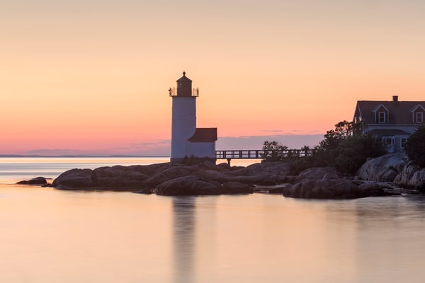 """Annisquam Lighthouse Sunset II"" Fine Art, Cape Ann, Gloucester MA Coastal Beach Photography"