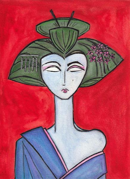 American Maiko with Red Background Painting by Wet Paint NYC Artist Paul Zepeda