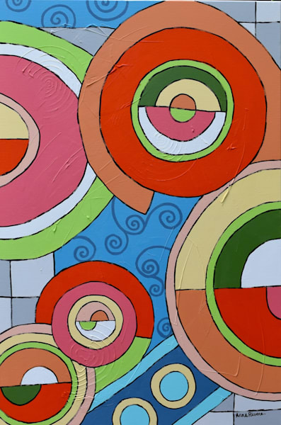 Orange Circles II, acrylic on canvas, original abstract art paintings for sale/Peachtree City, GA