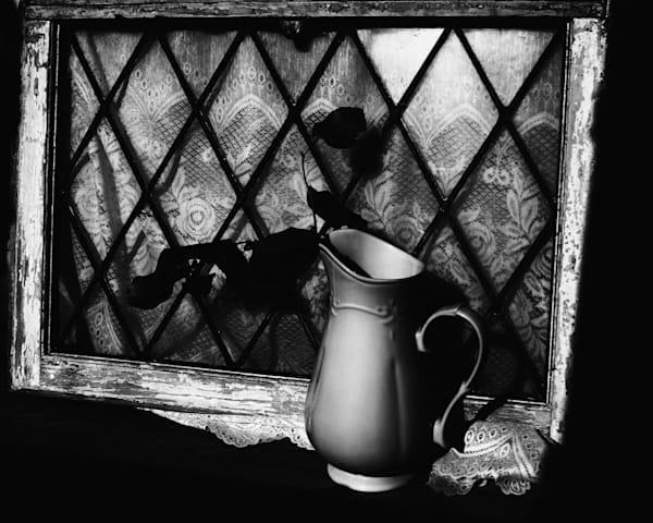 Still life black & white pitcher and antique window for sale as fine art by Sage & Balm