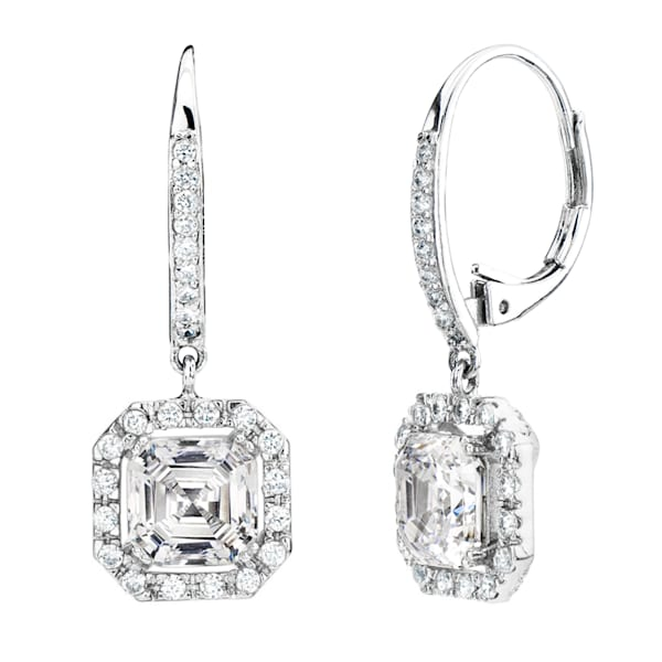 Silver Clear Asscher Cut Drop Earrings | Southwest Jewelry