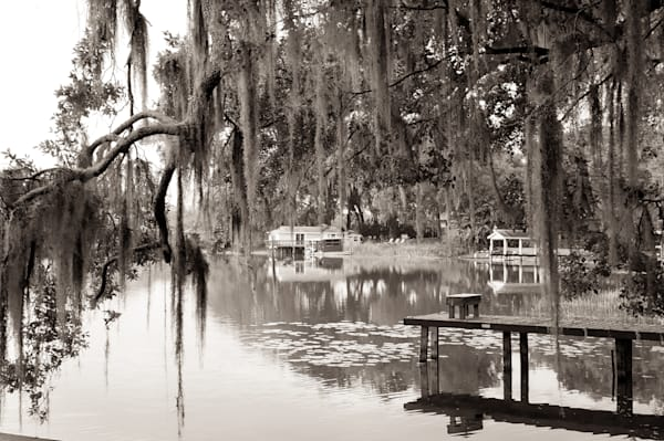 Sepia photograph of a dock on the Bayou for sale as fine art by Sage & Balm