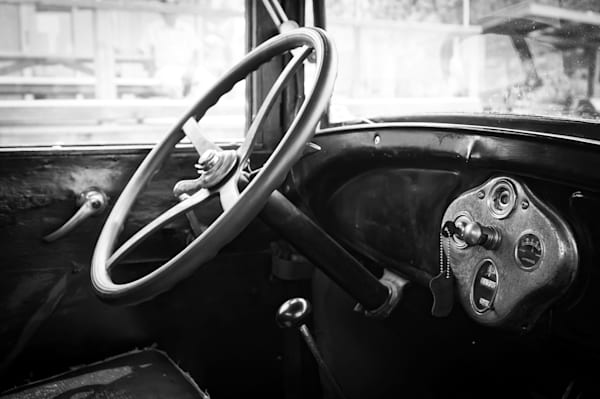 Black & white photograph of an antique Ford Model A interior for sale as fine art by Sage & Balm