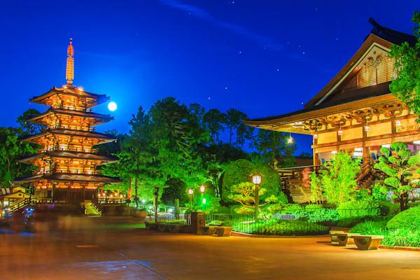 Japan Pavilion and the Full Moon - Disney Framed Art | William Drew Photography