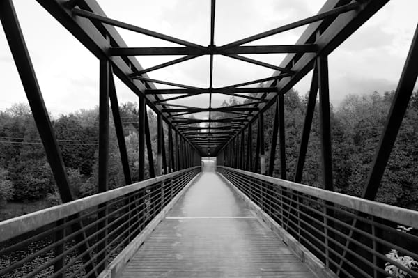 Abstract & conceptual black & white photograph of a steel bridge, for sale as fine art by Sage & Balm