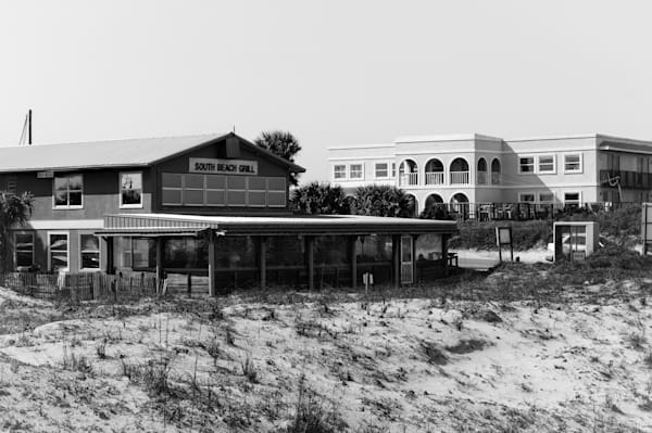 Black & white nautical and landscape photograph of the South Beach Grill restaurant from St.Augustine beach, Florida, for sale as fine art by Sage & Balm