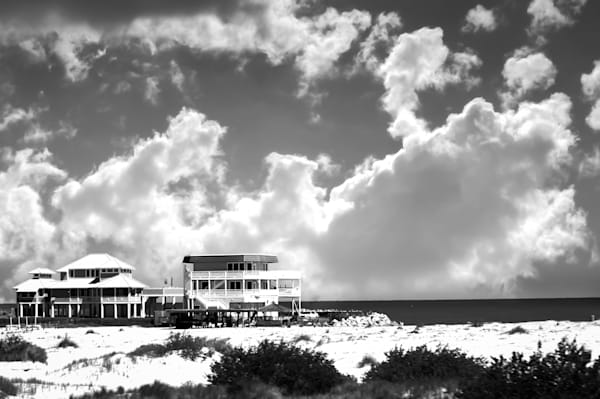 Black & white nautical travel photograph of beach mansions near Flagler beach, Florida, for sale as fine art by Sage & Balm