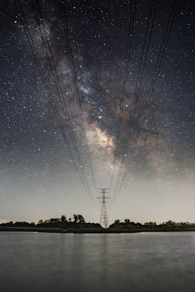 Milky Way Over Crandell Lake Power Lines