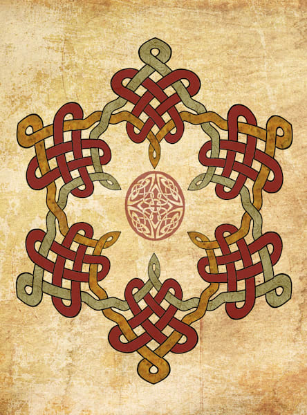 Gold  Burgundy  Celtic Circle Rectangle
